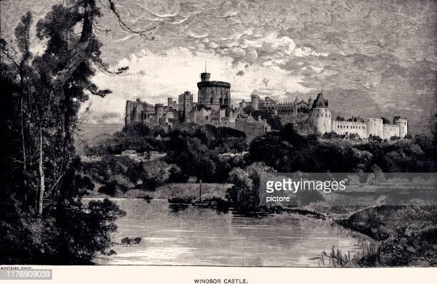 windsor castle (xxxl) - windsor castle stock illustrations