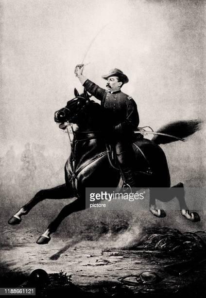 philip henry sheridan (xxxl) - cavalry stock illustrations