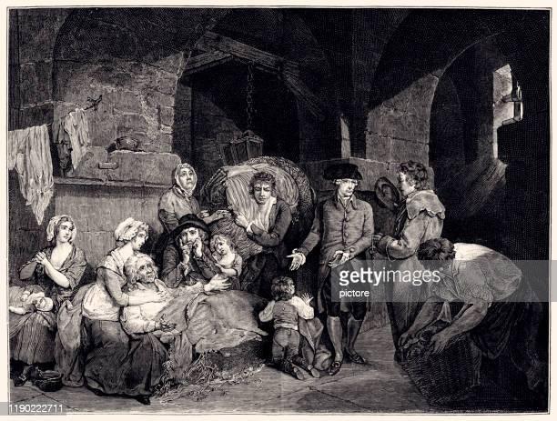 john howard visiting an english prison (xxxl) - 18th century style stock illustrations