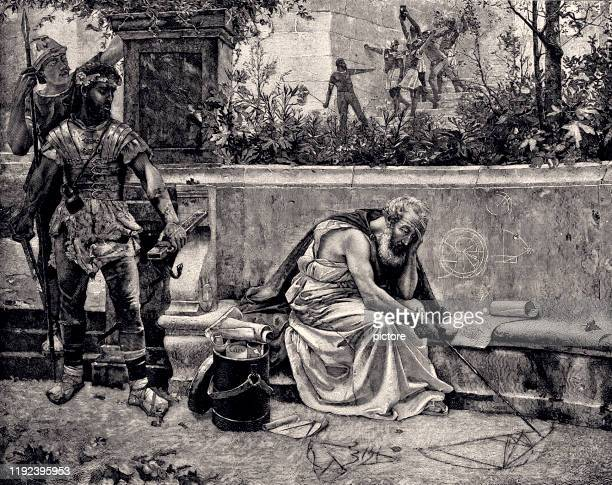 death of archimedes (xxxl) - ancient greece stock illustrations