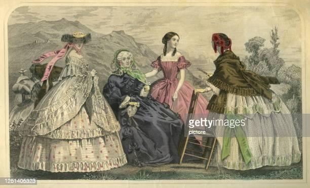 ilustrações de stock, clip art, desenhos animados e ícones de may party in 1859 (xxxl) - roupa de mulher