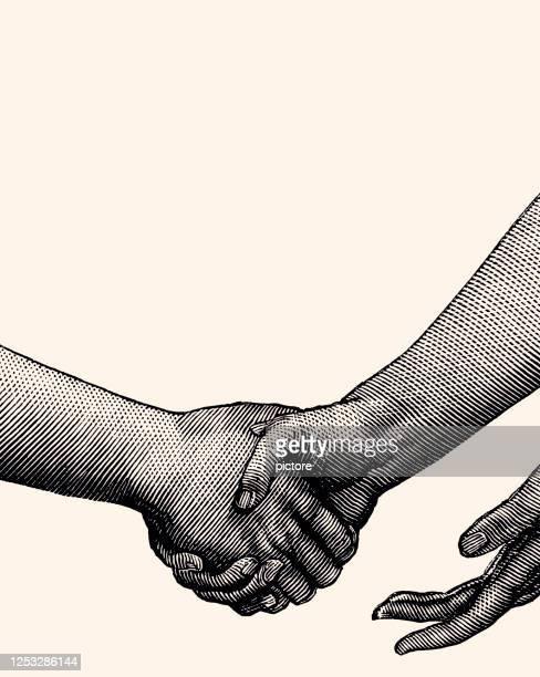 illustrazioni stock, clip art, cartoni animati e icone di tendenza di stringere la mano (xxxl) - scuotere