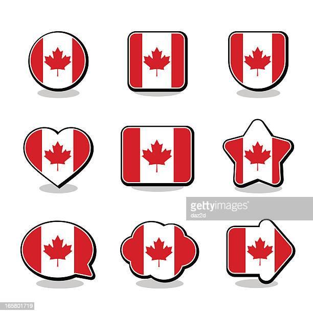canada flag icon set - canadian flag stock illustrations