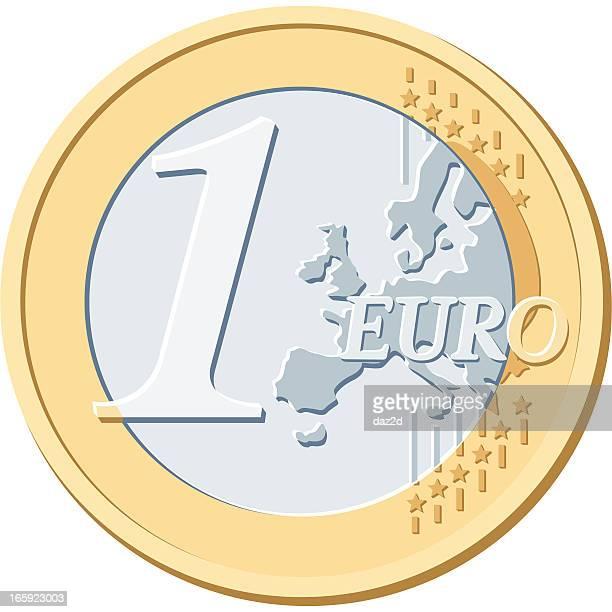 ein-euro-münze - geldmünze stock-grafiken, -clipart, -cartoons und -symbole