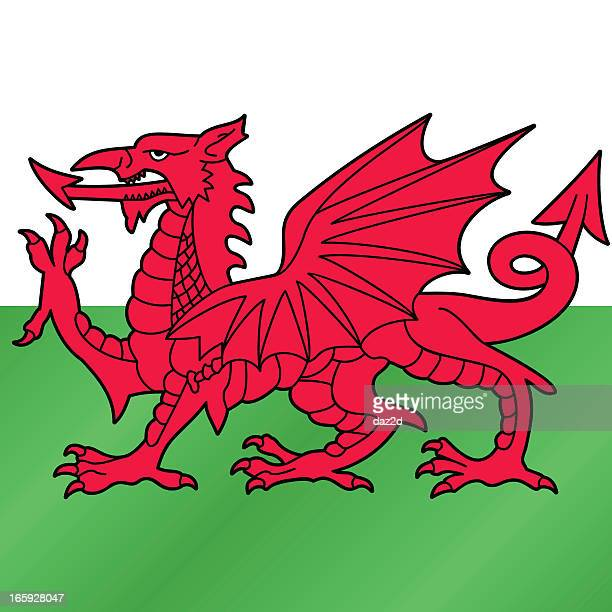 red dragon of wales - welsh flag stock illustrations