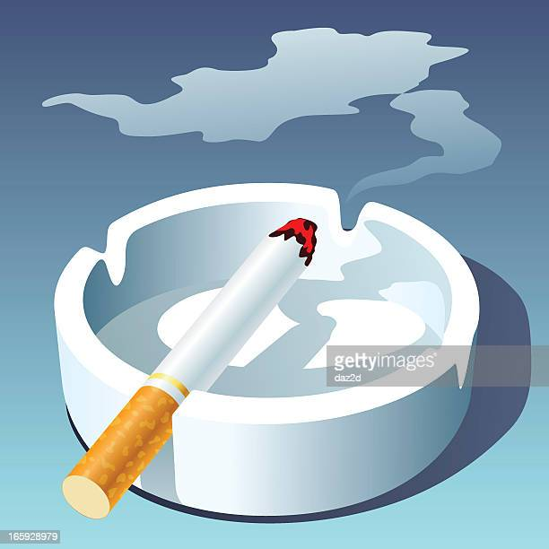 cigarette and ashtray - tobacco crop stock illustrations, clip art, cartoons, & icons
