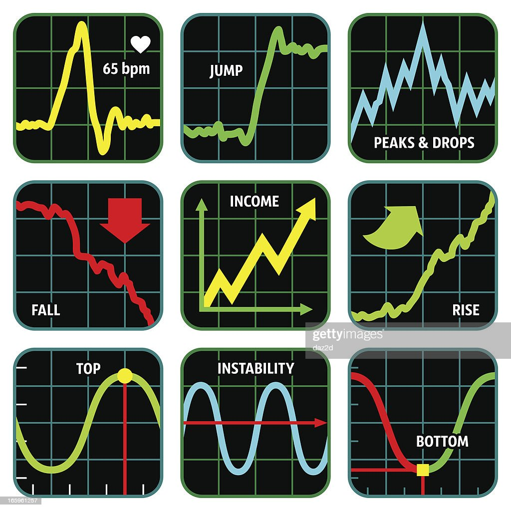 LINE GRAPH ICON SET : stock illustration