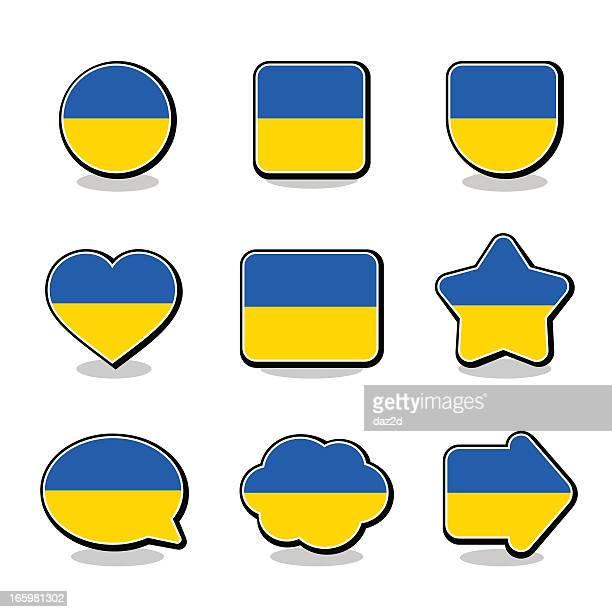 illustrations, cliparts, dessins animés et icônes de ensemble d'icônes drapeau ukraine - ukraine
