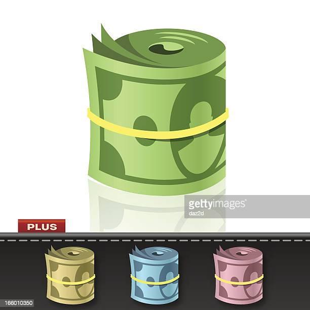 ilustraciones, imágenes clip art, dibujos animados e iconos de stock de fajo de billetes - fajo de billetes
