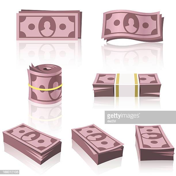 red money stacks - south african currency stock illustrations