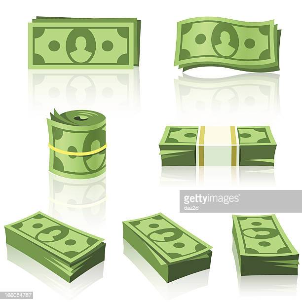 green money stacks - us paper currency stock illustrations, clip art, cartoons, & icons
