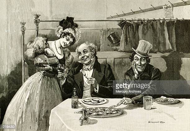 dining intrigues - the past stock illustrations