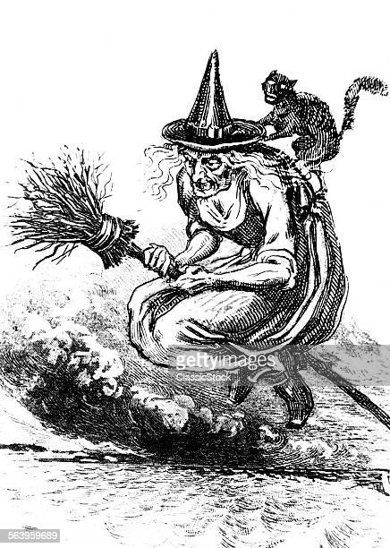 ENGRAVING OF UGLY OLD WITCH RIDING BROOM WITH A BLACK CAT ON HER BACK