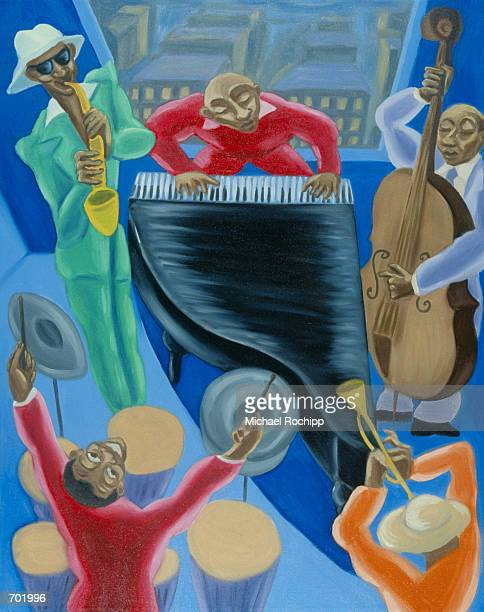overview of jazz band - jazz stock illustrations, clip art, cartoons, & icons