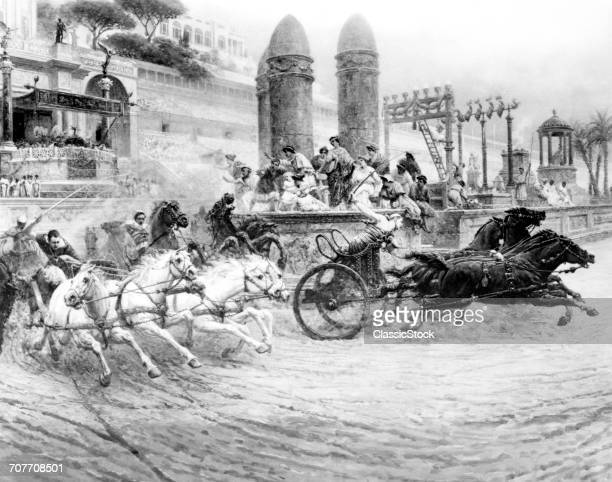 ILLUSTRATION CHARIOT RACE IN CIRCUS MAXIMUS ANCIENT ROME
