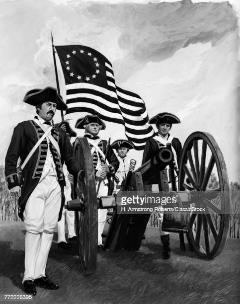 GROUP OF FOUR REVOLUTIONARY WAR SOLDIERS MEN STANDING AROUND CANNON WITH FLAG OF ORIGINAL THIRTEEN COLONIES 1776 GUN CREW