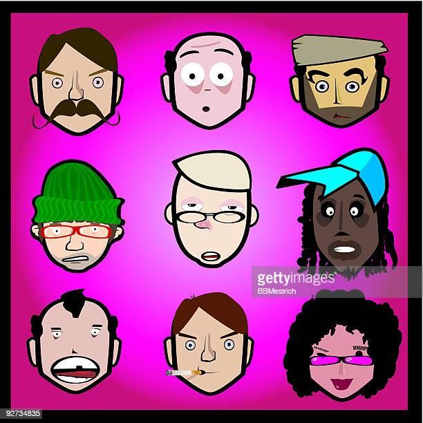 faces yelow - flat cap stock illustrations