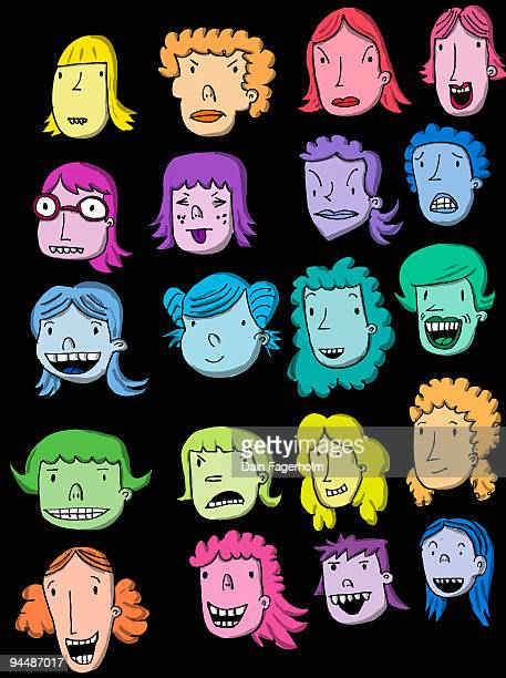 cartoon  faces - large group of people stock illustrations