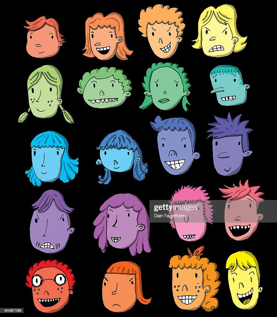 CARTOON FACES   : Stock Illustration
