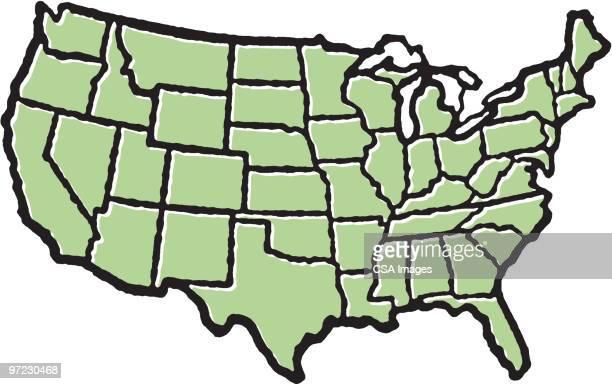 usa - us state border stock illustrations, clip art, cartoons, & icons