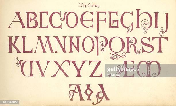ilustraciones, imágenes clip art, dibujos animados e iconos de stock de 10 th century inglés rotulación - edad media