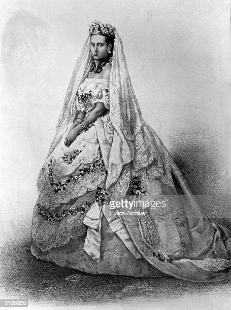 Princess Alexandra , daughter of Christian IX of Denmark and consort of Prince Edward, later King Edward VII, in her wedding dress. Original...