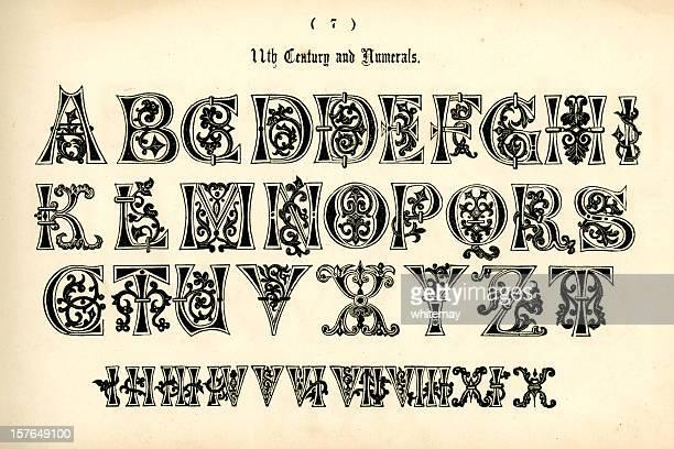 ilustrações de stock, clip art, desenhos animados e ícones de 11 º século alfabeto com números - algarismo romano