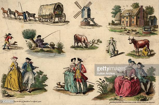 Various aspects of English rural life including a horse and cart a windmill a fisherman a milkmaid and three courting couples A handcoloured...