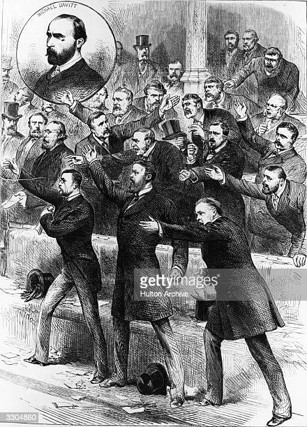Irish Home Rulers standing in the House of Commons in London demanding privilege Inset is a picture of nationalist Michael Davitt who was...