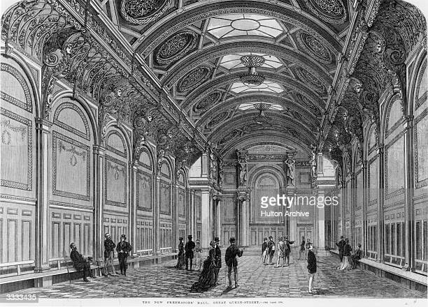 Interior of Freemason's Hall in London with its ornate decorations Original Publication Illustrated London News The New Freemasons' Hall Great Queen...
