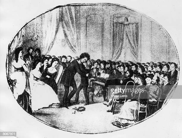 The 12 year old pianist Franz Liszt being greeted by Ludwig van Beethoven after his first public concert in Vienna in 1823.