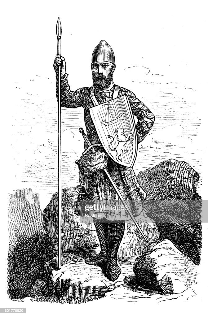 13th century Scottish Chief  warrior : stock illustration