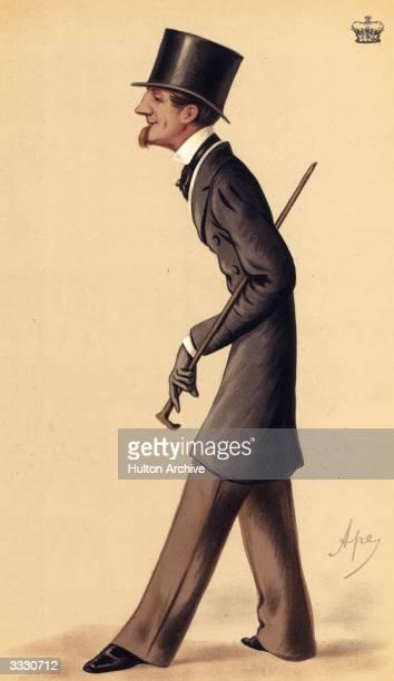English Statesman, John Alexander Thynne, the Marquis of Bath . Vanity Fair - Statesmen No 175 - Ancient lineage - pub. 1874 Caricature by Ape .