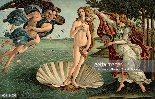 1400s 1486 PAINTING SANDRO BOTTICELLI THE BIRTH OF VENUS FLORENCE ITALY IN THE UFFIZI GALLERY