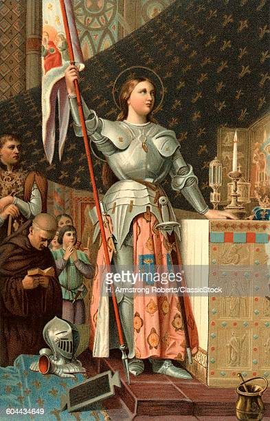 1400s JULY 17 1430 JOAN OF ARC IN ARMOUR WITH HALO AT CORONATION CHARLES VII OF FRANCE BY JEAN AUGUST DOMINIQUE INGRES IN 1854