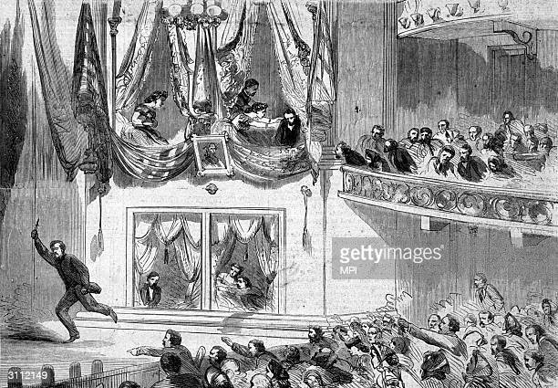 John Wilkes Booth the assassin of president Abraham Lincoln escaping from Ford's Theatre Washington DC