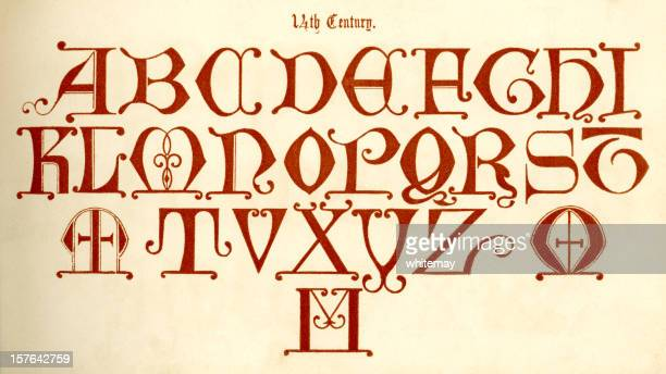 14th century alphabet (capitals) - circa 14th century stock illustrations, clip art, cartoons, & icons