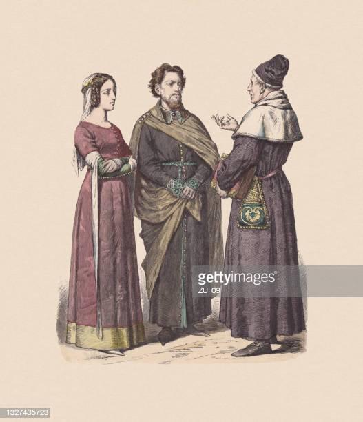 14世紀、イギリスの衣装、手色の木彫り、出版 c.1880 - 聖職服点のイラスト素材/クリップアート素材/マンガ素材/アイコン素材