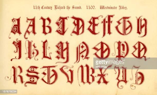 14th century english initials, reign of richard ii - circa 14th century stock illustrations