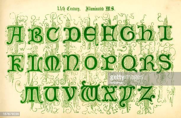 14th century illuminated letters