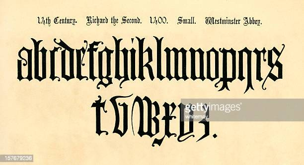 14th century lower case letters, reign of richard ii - gothic style stock illustrations