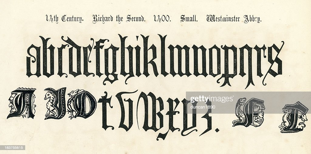 14th Century Style Alphabet : stock illustration