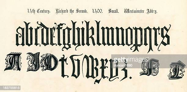 14th century style alphabet - gothic style stock illustrations, clip art, cartoons, & icons