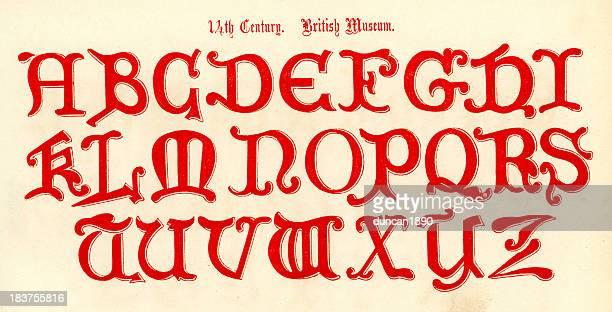 ilustrações de stock, clip art, desenhos animados e ícones de alfabeto de estilo do século 14 - letrac
