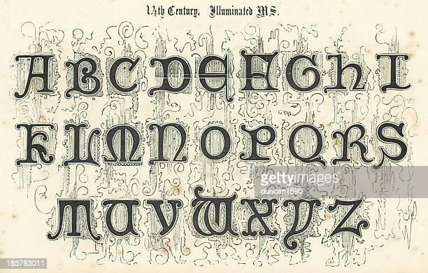 14th century style alphabet - circa 14th century stock illustrations