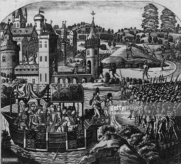 14th June 1381 Richard II King of England here seen sailing down the Thames in a barge to confer with the rebels at Mile End Son of Edward the Black...