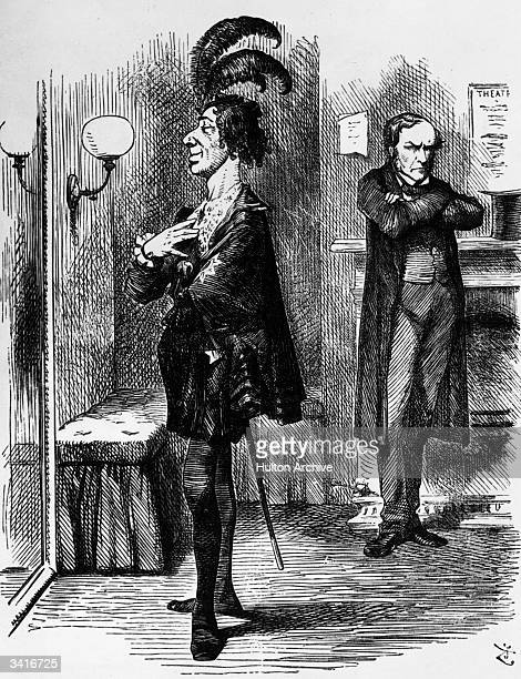 British politician Benjamin Disraeli minority leader of the House of Commons making fun of Gladstone who although in the majority was vastly...