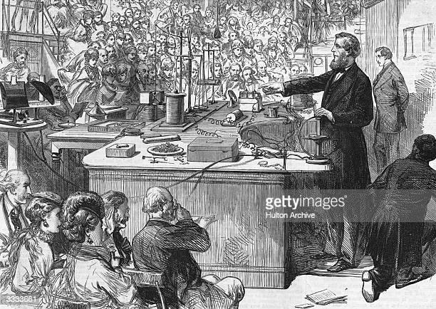 Irish physicist Professor John Tyndall lecturing at the Royal Institution Original Publication Illustrated London News