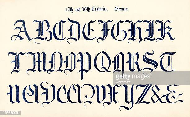 15th and 16th century german alphabet - gothic style stock illustrations, clip art, cartoons, & icons