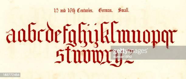 ilustrações de stock, clip art, desenhos animados e ícones de 15 e 16 século estilo alfabeto - letraj